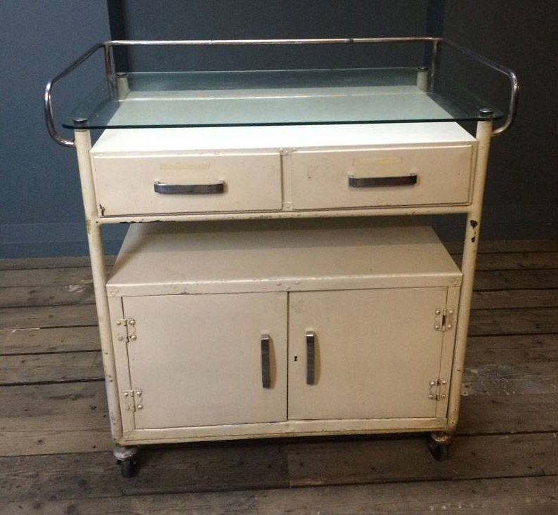 Cream Medical trolley with two cupboards